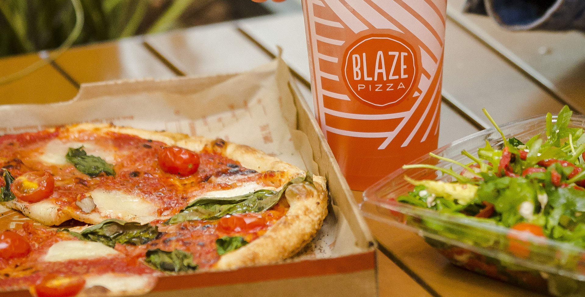 BLAZE pizza, drink and salad
