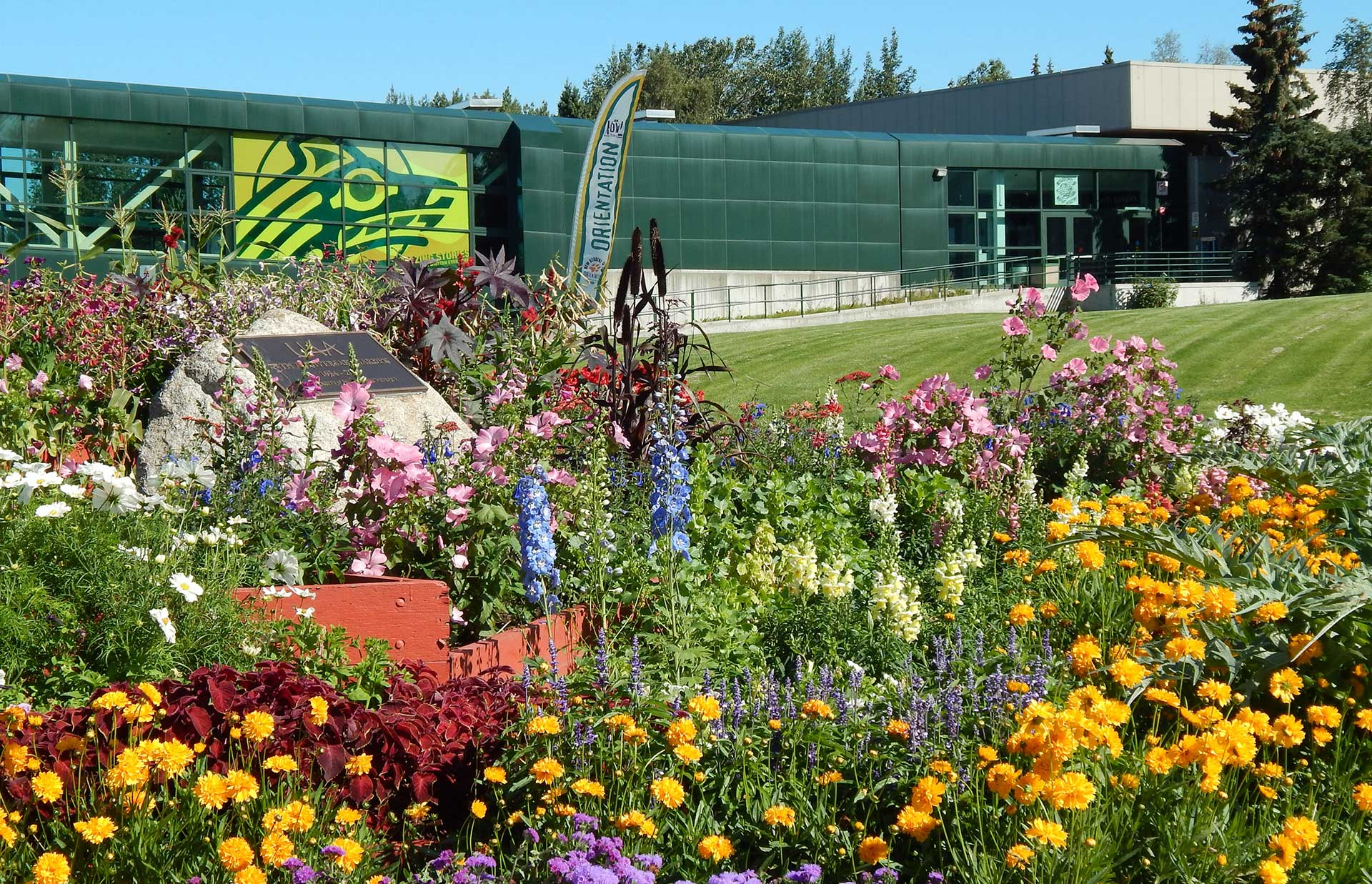 UAA campus pic with flowers