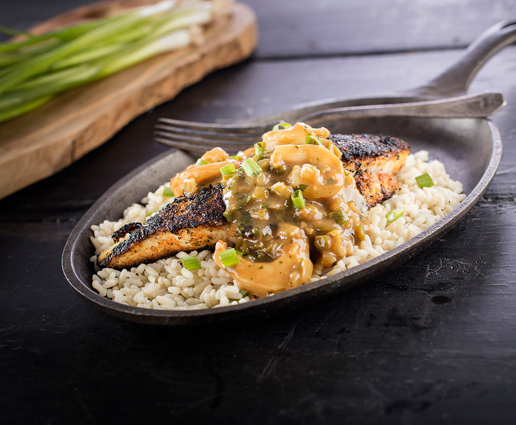 Blackened Catfish Shrimp Etouffee