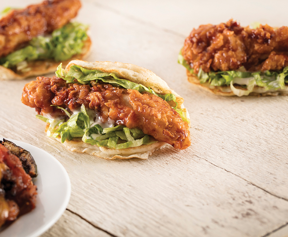Buttermilk Crispy Chicken Pancake Taco