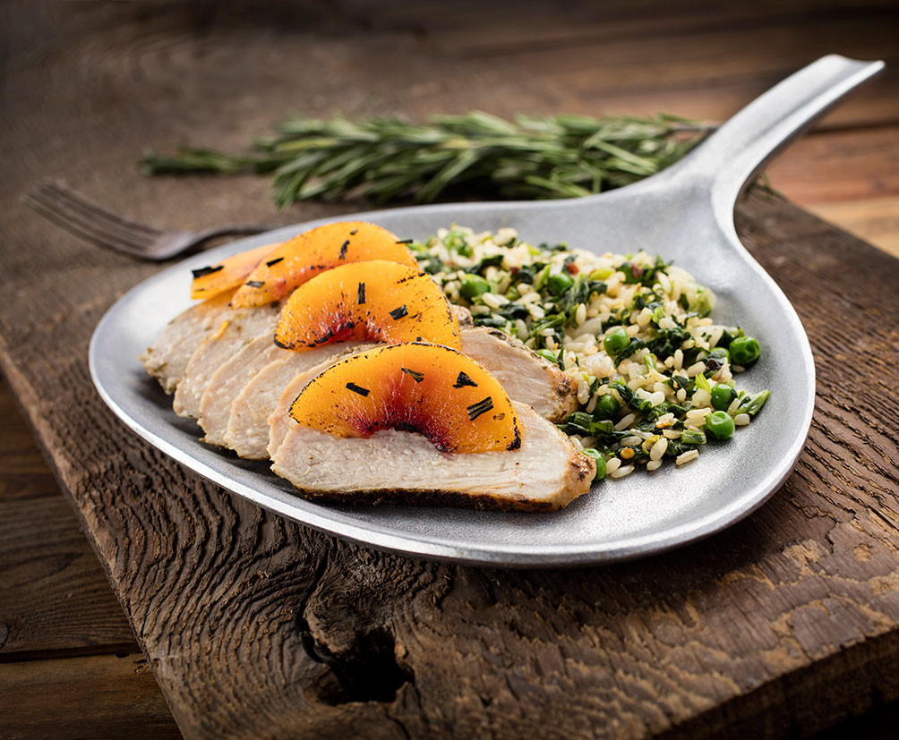 Herb Mustard Crusted Pork Tenderloin Roasted Peaches