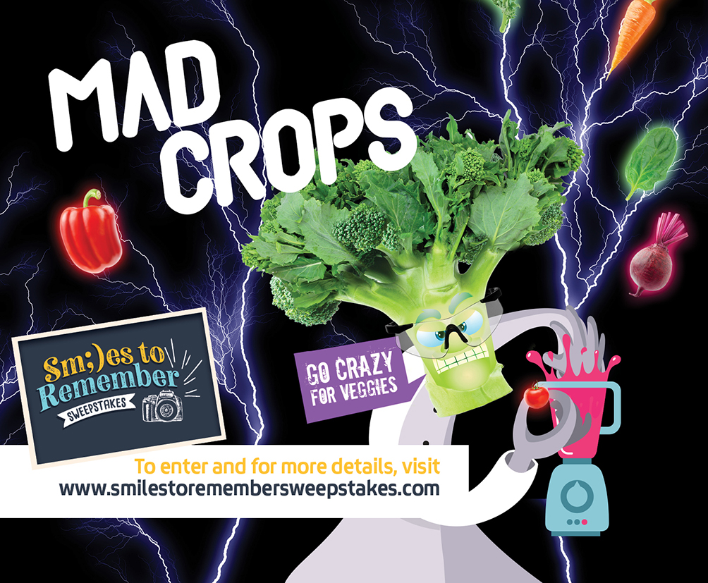 Mad Crops - for more details and to enter visit www.smilestoremembersweepstakes.com