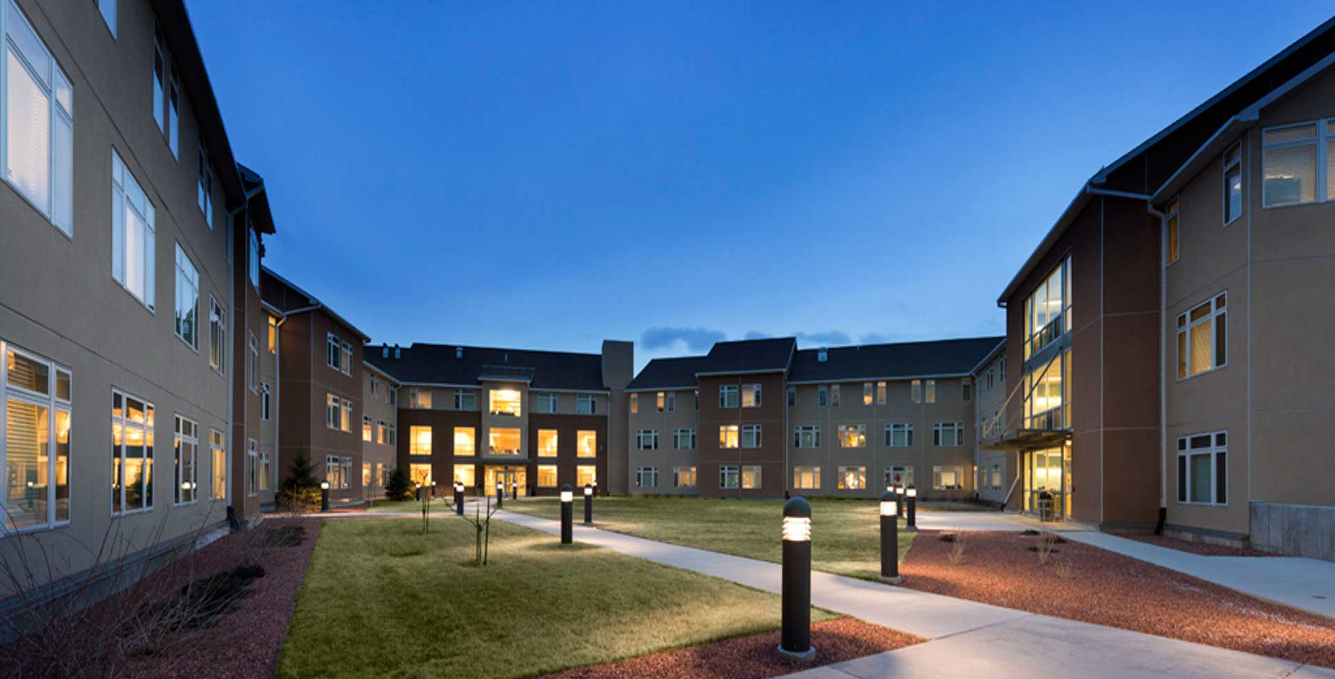 Resident Halls in the evening