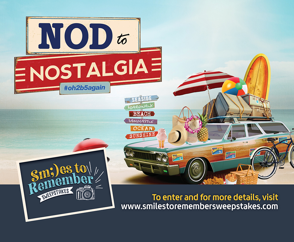 Nod to Nostalgia #oh2b5again - for more details and to enter, visit www.smilesstoremembersweepstakes.com