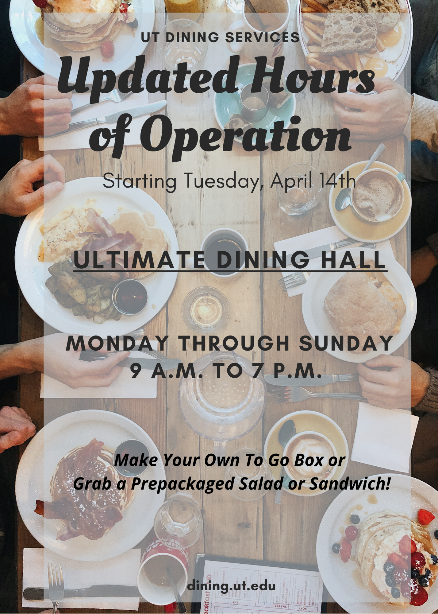 UPDATED DINING HOURS OF OPERATION